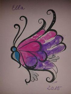 #Handabdruck Ella 1 Jahr als #Schmetterling #DIY