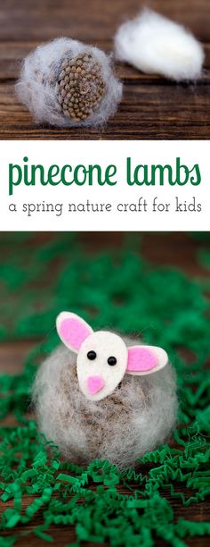 Pinecone Lambs are a creative, easy, and fun spring nature craft for kids. Made with pinecones, wool, felt, and kid-friendly craft supplies! via @https://www.pinterest.com/fireflymudpie/