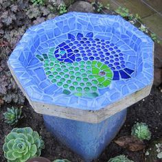Sparkling Ying & Yang Fish Mosaic Bird Bath by cocoroodesigns, $550.00