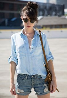 A thin chambray top