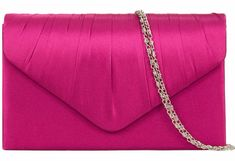 A pink satin clutch bag shoulder bag with pleated detail to the front The bag fastens with a flap over the top and a concealed metal magnetic stud it