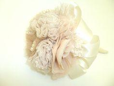 Handmade wedding Bouquet Fabric Bridal BouquetIvory by PIPPADUSHES, $130.00
