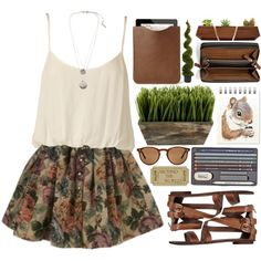 A fashion look from October 2014 featuring pink shirt, brown skirt ve strap sandals. Browse and shop related looks.