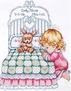 Tobin Counted #crossstitch  BEDTIME PRAYER GIRL Birth Record #baby #DIY #needlecraft #giftideas