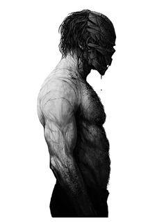 Uomo a torso nudo con cicatrici con maschera di strisce di metallo grondante sangue