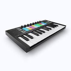 The Novation Launchkey Mini is a portable 25 Key MIDI Keyboard. With 16 backlit drumpads, and a host of new features and functionality. Ableton Live, Digital Audio Workstation, Midi Keyboard, Cassette, Usb, Mini, Music Instruments, Product Launch, Music Production