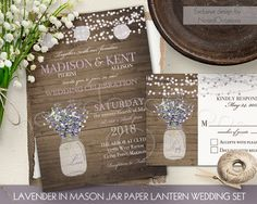 Rustic Wedding Invitation Set Mason Jar Lavender Baby's Breath Wedding Printable Invite String Lights Wood Country Wedding Suite DIY digital by NotedOccasions