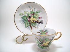 Nikoniko Hand Painted Golden Finch Tea Cup & Saucer