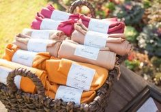 Loving these fall colored Pashmina scarves for wedding favors.