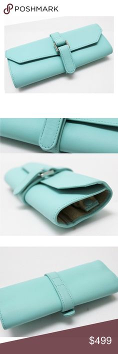 Tiffany&Co. Tiffany blue leather jewelry roll/case TIFFANY & Co.Tiffany Blue leather jewellery roll case - wow!   A lovely authentic Tiffany Blue leather jewellery roll case by TIFFANY & CO.  Good normal wear, with a small imperfection or two – see pics for details. Looks like new, very gentle use- ask for more pictures, if like. Debating selling on here. Lmk if interested. This product at the same time sells to other shopping sites and storefronts. No cloth. Box, yes. Tiffany & Co. Jewelry