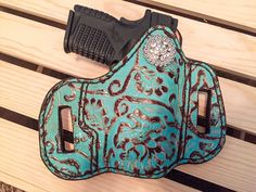 Turquoise Bling Conceal Carry Holster!!!!! #guns #concealcarry #leather#womensconcealcarry