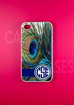 Monogrammed Iphone 4 Case, Monogram Iphone 4s Case, Personalized Iphone 4 s Cover - Peacock Design
