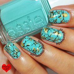 heartnat: Turquoise Stone Nails with Bundle Monster BM 509 Nail Art 2015, Nail Art Designs 2016, Nails 2015, Simple Nail Art Designs, Easy Nail Art, Fun Nails, Pretty Nails, Crazy Nails, Sky Blue Nails