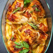 Baked Chicken, Potato, and Bacon Casserole
