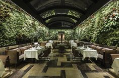 Gorgeous Restaurant's Green and Natural Interior Design. Natural interior design applied in this one of the walls of this restaurant is decorated with unique and eye-catching lined plant pots. Seven Restaurant, Greens Restaurant, Cafe Restaurant, Restaurant Interior Design, Cafe Interior, Healthy Restaurant Design, Outdoor Restaurant Design, Natural Interior, Dark Interiors