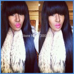 Find More Wigs Information about 150% Density 100% virgin Indian silky straight full Lace wig human hair glueless full lace wigs with bangs for black women,High Quality wig bleach,China wig vogue Suppliers, Cheap wig set from Gorgeous Summer Hair Store on Aliexpress.com