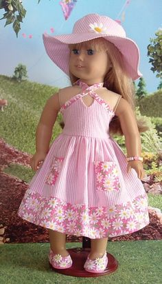 Pink Seersucker and Daisies for American Girl by MyGirlClothingCo