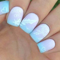 When it comes to nail art or manicures, there are so many choices. Feather design is one of the most popular nail art trend these days. Take a look at these creative feather nail art designs, which will make your nails truly stand out. Cute Acrylic Nails, Cute Nail Art, Cute Nails, Pretty Nails, Pastel Nail Art, Feather Nail Designs, Beautiful Nail Designs, Cool Nail Designs, Feather Design