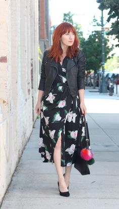 Keep your look street chic by pairing floral wrap dresses with an always moto jacket and pumps | Banana Republic