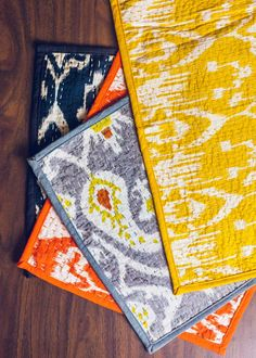 An extra treat with dinner, these playful placemats are hand-woven in India, featuring ikat inspired patterns and topped with textured kantha stitching throughout. The reverse side features a matching