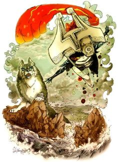 Wolf Link and Midna Twilight Princess Breath Of The Wild, The Legend Of Zelda, Link Lobo, Link And Midna, Zelda Video Games, Zelda Twilight Princess, Nintendo, Fan Art, Anime Manga