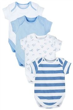 Buy Blue Short Sleeve Bodies Four Pack (0mths-3yrs) from the Next UK online shop