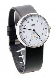Braun Analogique Blanc Bracelet Cuir Noir BN0024WHBKG - Braun