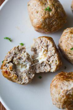 Feta-Stuffed Greek Turkey Meatballs Feta-Stuffed Greek Meatballs with Lemon-Garlic Yogurt Sauce Garlic Recipes, Cheese Recipes, Cooking Recipes, Meatball Recipes, Turkey Recipes, Dinner Recipes, Sausage Recipes, I Love Food, Good Food