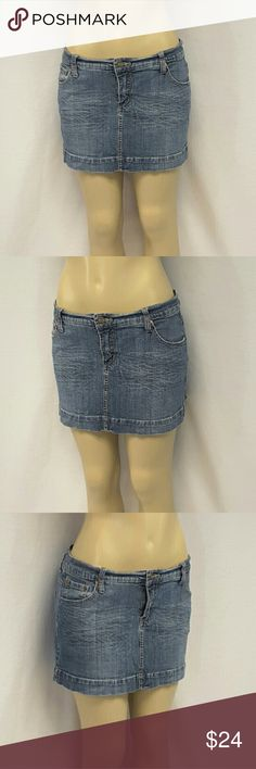 """40% BUNDLE DISCOUNT! FREE SHIPPING ON BUNDLES!! Denim Mini Skirt, size 13 See Measurements, whiskering in front, stretchy,  medium weight denim material, machine washable, 99% cotton, 1% spandex, approximate measurements: 17"""" waist laying flat, 3"""" zipper, 13"""" length. ADD TO A BUNDLE!  40% BUNDLE DISCOUNT! FREE SHIPPING ON BUNDLES!! ?OFFER? $6 LESS ON BUNDLES! Only ?offers? of $6 less on Bundles for shipping reimbursement. Skirts Mini"""