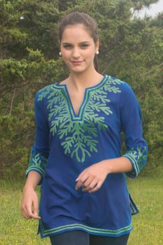 Reef Tunic in Royal Blue/Kelly Green