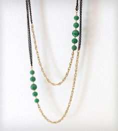 Rope Necklace with Green Beads