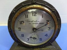 """VINTAGE 20'S - 30S GILBERT - WINSTED CT ADVERTISING ALARM CLOCK """"SUNDIAL SHOES"""""""