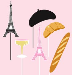 Paris Life Photo Booth Props Set of 6 by lolapaperdoll on Etsy