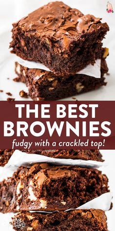 Looking for the best homemade brownies? This from scratch recipe is everything: Fudgy, chewy and with that awesome brownie crackle on top! Pecan Brownies Recipe, Best Chocolate Brownie Recipe, Homemade Brownies, Chocolate Chip Recipes, Chocolate Chips, Simple Brownie Recipe, Chocolate Lovers, Chocolate Desserts, Kakao Brownies