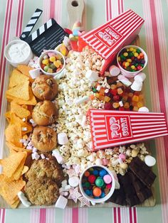 Discover recipes, home ideas, style inspiration and other ideas to try. Movie Night Snacks, Movie Nights, Dessert Tray, Dessert Recipes, Charcuterie Board, Charcuterie Recipes, Party Food Platters, Candy Board, Birthday Party Desserts
