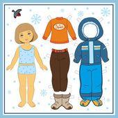 Бумажная кукла с одеждой — стоковая иллюстрация #47973331