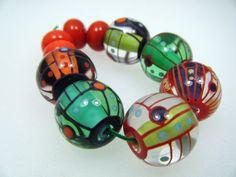 Moogin  Angular lampwork bead set  16mm  SRA by mooginmindy, £36.00