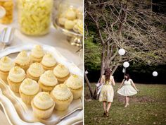 yellow cupcakes a bridesmaids dresses with prints!