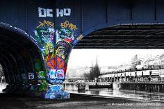 Die Augartenbrücke in Wien – Donaukanal Graffiti, Vienna, Bunt, Gate, Clouds, Material, Travel, History, Canvas