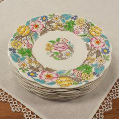 "7 Royal Albert Jacobean 8"" Salad Plates ~ Hampton Blue/Turquiose ~ Bone China ~ Made in England by FeeneyFinds on Etsy"