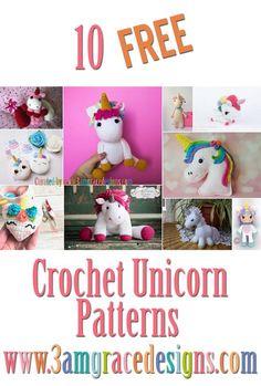 Free Unicorn Crochet Patterns Roundup #crochet #amigurumi #unicorn