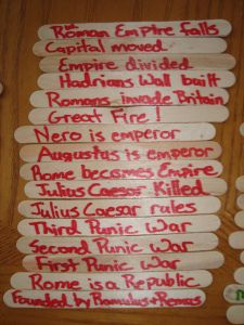 I like the idea of using popsicle sticks to sequence events -- could be used in SS or ELA! Teaching Latin, Teaching Ideas, Kids Timeline, Tapestry Of Grace, Interactive Timeline, 4th Grade Social Studies, French Classroom, Classical Education, Lewis And Clark