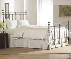 Charles P. Rogers Beds Direct Newfield Bed, Iron Beds - Authentic castings and brass details make our Newfield bed virtually indistinguishable from beds made a century ago. Available in wrought iron or vintage iron with antique brass accents. Our antique brass requires minimal care and will continue to mellow with age, acquiring the rich patina for which brass is renown.