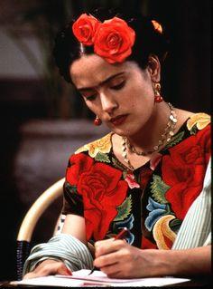 Salma Hayek as Frida Kahlo - What an amazing movie Frida Film, Frida Movie, Salma Hayek Frida, Selma Hayek, Jean Paul Gaultier, Folk Film, Mexican Bridal Showers, Kahlo Paintings, Frida And Diego