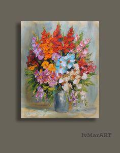 Les fleurs colorées Giclee print de toile peinture par IvMarART