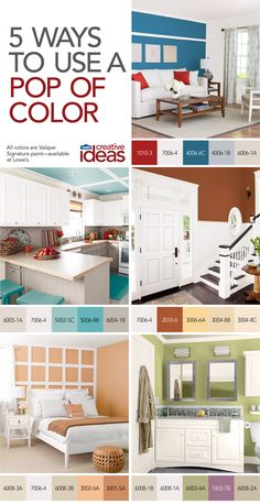 Create excitement by adding big, bold doses of color to a room. See more ways to use pops of color in Color for Every Room -- a free Lowe's Creative Ideas online magazine! Paint colors, color ideas, paint ideas