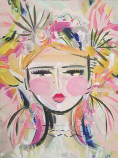 """Abstract Portrait PRINT, paper or canvas, Warrior Girl, woman portrait, Warrior Girl """"Palmetto"""" Abstract Portrait, Portrait Art, Abstract Art, Painting Of Girl, Diy Painting, Illustrations, Illustration Art, Warrior Girl, Canvas Art"""