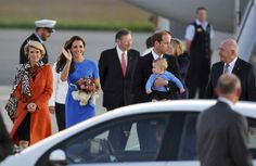 The arrival at the Fairbairn RAAF base in Canberra, of the Duke and Duchess of Cambridge with their son, Prince George.