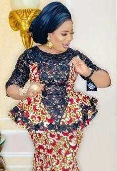 Ankara skirt and blouse style for wedding. Est ankara skirt and blouse styles Erian lace skirt and blouse styles Latest African Fashion Dresses, African Dresses For Women, African Print Fashion, African Attire, Latest Fashion Styles, Ankara Fashion Styles, Ankara Styles, Latest Lace Styles, Latest Ankara Dresses