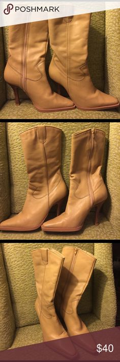 Women's CHINESE LAUNDRY heel boots. Tan leather. CHINESE LAUNDRY tan leather 5 1/2M. Chinese Laundry Shoes Heeled Boots